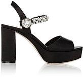 Miu Miu Women's Crystal-Embellished Platform Sandals-Black