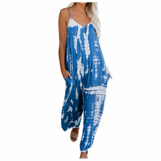 Women's Pants Women's Jumpsuits Tie-dye Print Sleeveless Spaghetti Strap V Neck Wide Leg Playsuit with Pockets Summer Casual Baggy Color Block Rompers One-Piece Trouser Long Pants Overalls (L
