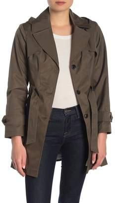 Via Spiga Pleated Hooded Trench Coat