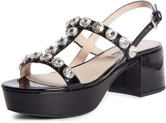 Miu Miu Embellished T-Strap Platform Sandal