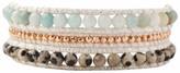 Chan Luu Dalmation Jasper Mix Multi Color On White Shimmer Cord Wrap Bracelet