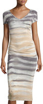 Young Fabulous and Broke Ruched Tie-Dye Dress, Charcoal Water Ripple