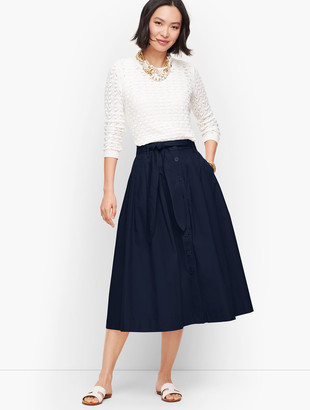 Talbots Poplin Button Front Full Midi Skirt
