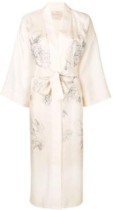 Cavallini Erika floral belted silk coat