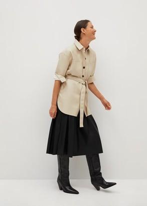 MANGO Leather effect aviator jacket ecru - XS - Women