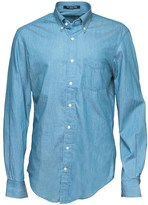 Gant Mens The Perfect Indigo Long Sleeve Shirt Light Indigo
