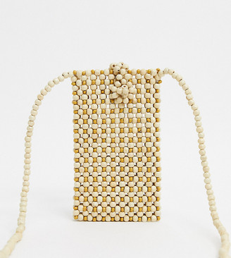 Accessorize beaded cross body bag in off white