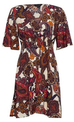 Dorothy Perkins Womens Multi Colour Paisley Print Shirred Skater Dress