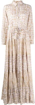 Mes Demoiselles Batik-Print Gathered Maxi Shirt Dress