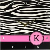 3dRose Letter K monogrammed black and white zebra stripes animal print with hot pink personalized initial - Wall Clock, (dpp_154282_1)