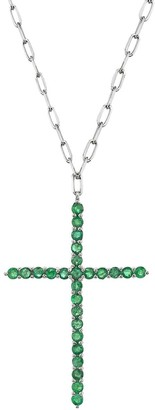 Shay Jewelry Large Emerald Cross Pendant Necklace