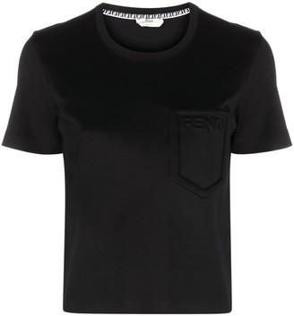 Fendi logo-embossed crew-neck cropped T-shirt