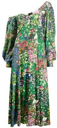 Natasha Zinko Green Floral Off-shoulder Dress