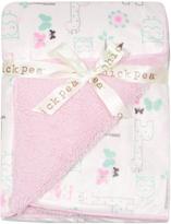 Cutie Pie Baby Pink Animal Sherpa-Backed Stroller Blanket