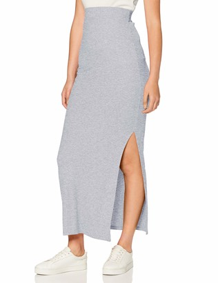 Meraki Amazon Brand Standard Women's Rib Maxi Skirt (Grey Marl) EU M (US 8)