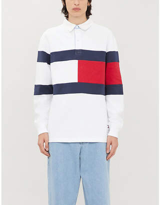 Tommy Jeans Colour-blocked relaxed-fit cotton rugby shirt