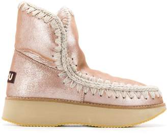 Mou stitch detailed ankle boots