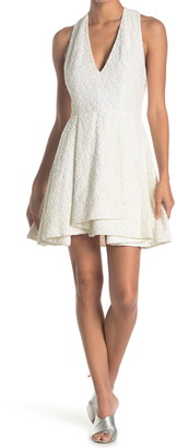 Alice + Olivia Tanner Lace Asymmetrical Hem Mini Dress