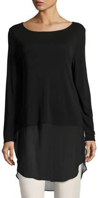Eileen Fisher Petite Long-Sleeve Silk Jersey Tunic w/ Sheer Layer
