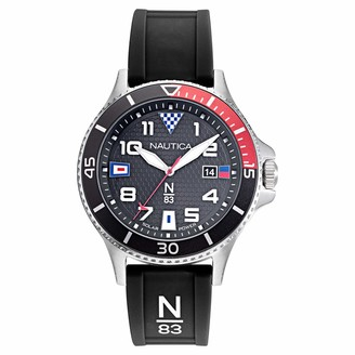 Nautica N83 Men's NAPCBF914 Cocoa Beach Black/Red Silicone Strap Watch