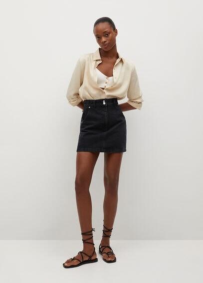 MANGO Pocket denim miniskirt