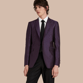 Burberry Slim Fit Geometric Silk Jacquard Tailored Jacket