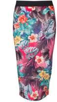 Select Fashion Fashion Womens Pink Tropical Print Midi Skirt - size 10