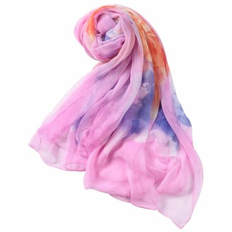 WAMSOFT Floral Scarf Women Large Neck Scarves Soft Flowy Watercolor Flower Chiffon Dressing Cover Headwrap Thin Scarf Lightweight Sheer Pool Bathing Suit Pareo Shawls Pink