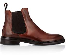 Barneys New York MEN'S BURNISHED LEATHER CHELSEA BOOTS-BROWN SIZE 10 M
