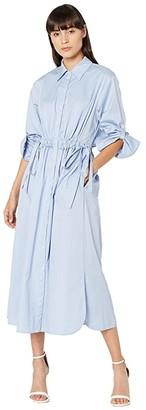 Jason Wu Open Back Poplin Shirtdress (Oxford Blue) Women's Clothing