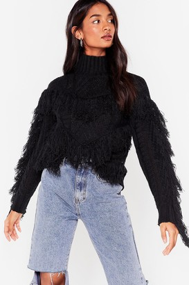 Nasty Gal Womens Make Sway Cable Knit Fringe Sweater - Black