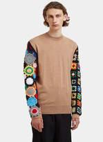 J.w. Anderson Contrast Crochet Knit Sleeved Sweater In Beige