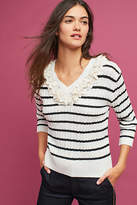 Harlyn Lace-Trimmed Striped Pullover