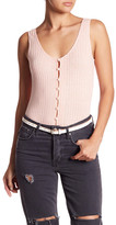 Privacy Please Gyle Button-Front Ribbed Bodysuit