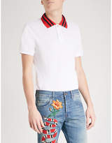 Gucci Striped-collar stretch-cotton polo shirt
