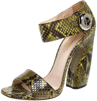 Prada Multicolor Python Leather Block Heel Ankle Strap Sandals Size 38