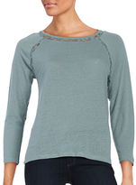 Calvin Klein Three-Wuarter Sleeved Lace Accented Top