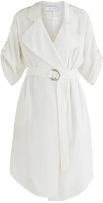 Paisie Oxford Double Breasted Jacket Dress In White