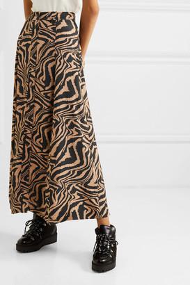 Ganni Tiger-print Crepe Midi Skirt - Sand