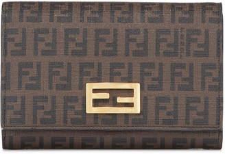 Fendi Canvas Logo Flap Top Wallet