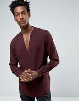 Asos Viscose Shirt In Polka Dot Print With V Neck In Regular Fit