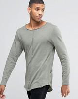 Asos Slub Super Longline Long Sleeve T-Shirt With Raw Seam Detail And Curve Hem In Green