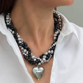 Black Diamond Bish Bosh Becca Murano Heart Necklace
