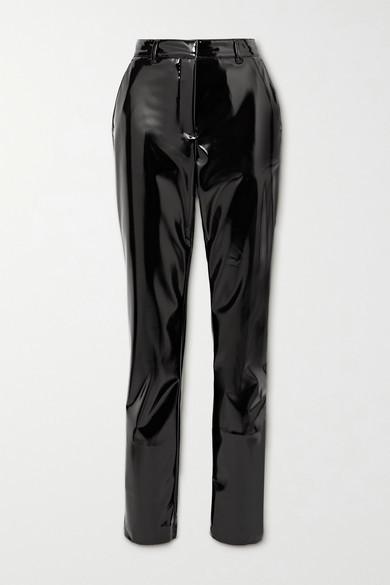 Victoria Beckham Faux Patent-leather Slim-leg Pants - Black