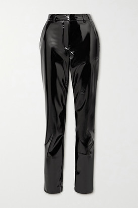 Victoria Beckham Faux Patent-leather Slim-leg Pants - Black