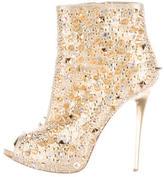 Gianmarco Lorenzi Embellished Peep-Toe Ankle Boots