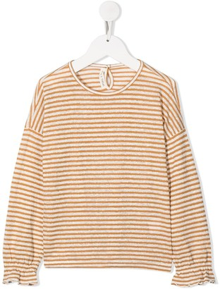 Zhoe & Tobiah Stripe-Pattern Puff-Sleeve Top