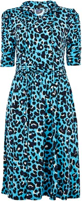 Wallis **Jolie Moi Blue Leopard Print Tie Neck Dress