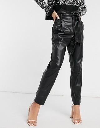 BB Dakota vegan leather high waist belted trouser in black