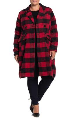 Urban Republic Fleece Buffalo Check Long Sleeve Blazer Trench Coat (Plus Size)